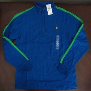 NWT Ralph Lauren LS Blue Half Zip Pullover 18/20
